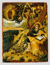 St John the Theologian writing the Book of Revelation