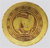Plate with the depiction of a feline