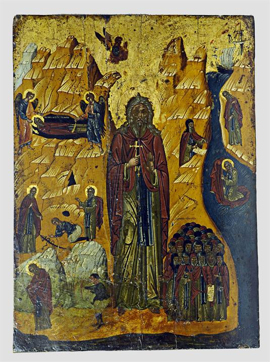 Ο άγιος Ιωάννης ο Ερημίτης και σκηνές του βίου του