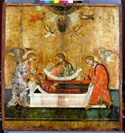 The burial of Theotokos and her Assumption to Heaven