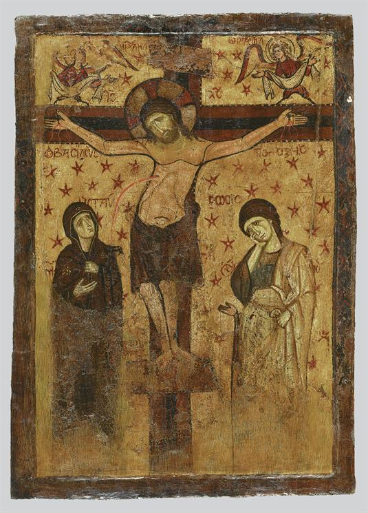 Double-sided icon with the Crucifixion and the Virgin Hodegetria