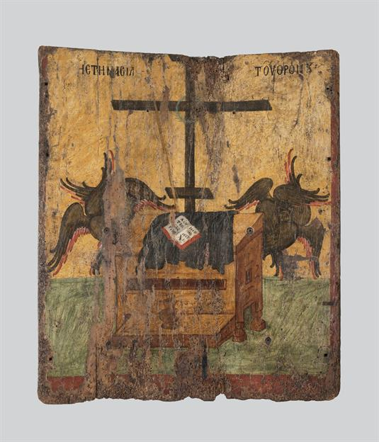 Παναγία και σκηνές δωδεκαόρτου (α΄ όψη) και Ετοιμασία του θρόνου (β΄ όψη)