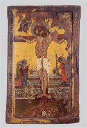 Double-sided icon with the Crucifixion and St. Nicholas