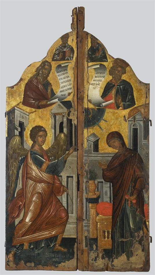 Sanctuary  doors with the depiction of the Annunciation, Prophets David and Isaiah and saints Andrew and Nicholas