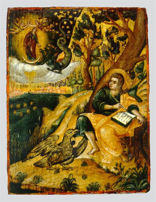 St John the Theologian writing the Book of Revelation