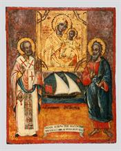 St Nicholas and Andrew flagging the icon of Virgin Hodegetria