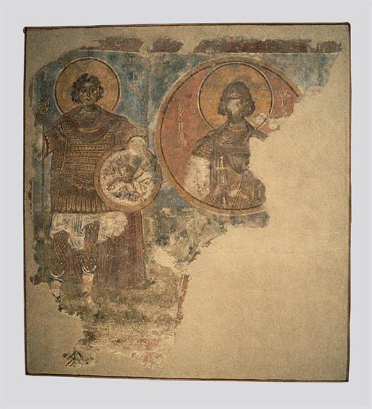 Ο άγιος Ορέστης ολόσωμος και ο άγιος Ευγένιος σε στηθάριο