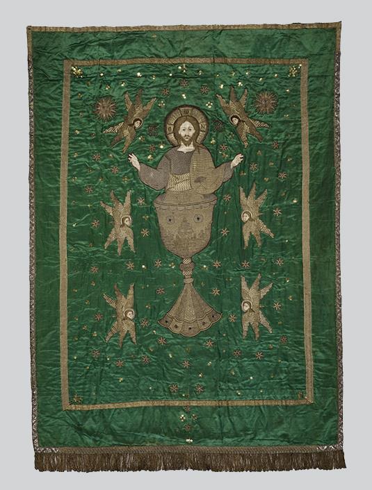 Πέτασμα Ωραίας Πύλης με το Χριστό σε ποτήριο, χερουβείμ και αστρικό διάκοσμο.