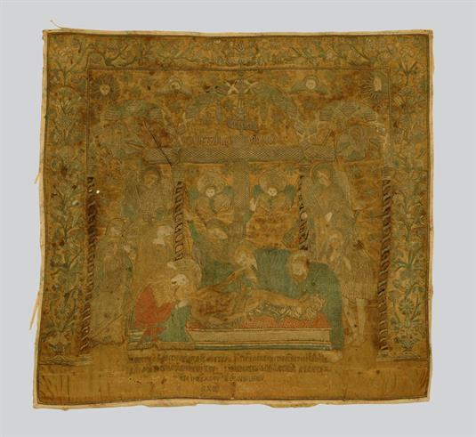 Επιτάφιος με την παράσταση του Επιταφιου Θρήνου, αγγέλων, χερουβείμ και αστρικών συμβόλων.