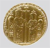 Solidus (gold coin) issued by the Emperor Leon VI and his son Constantine VII