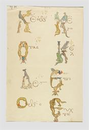 Eight animal-shaped initial letters