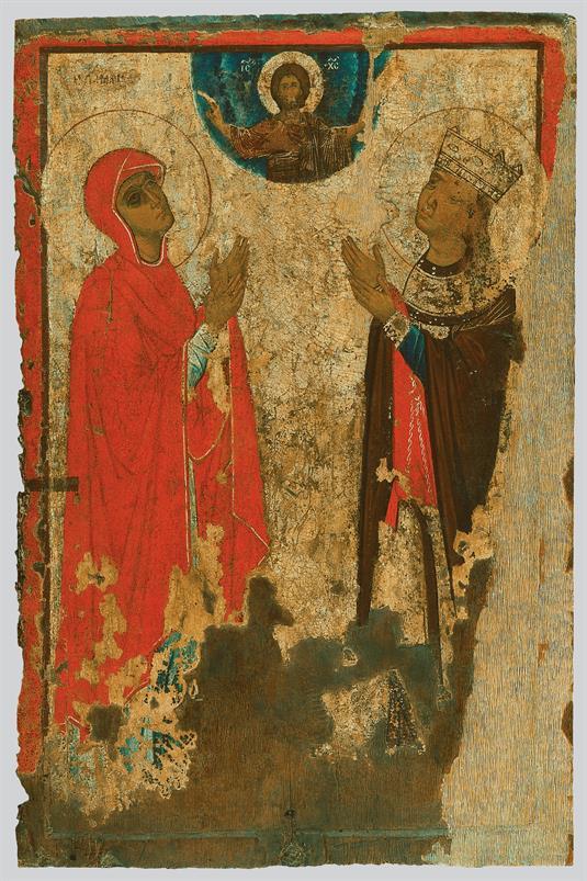 Άγιος Γεώργιος με σκηνές του βίου του (α΄ όψη), αγίες (β΄ όψη)