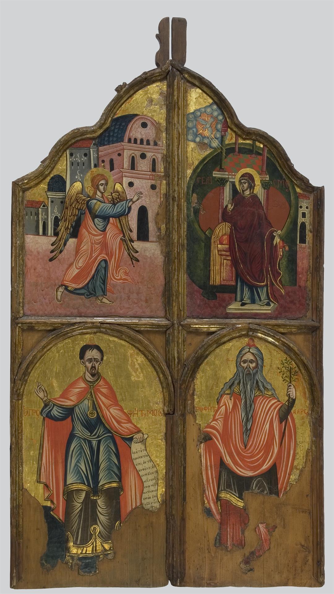 Βημόθυρα με παράσταση του Ευαγγελισμού της Θεοτόκου με τους προφήτες Μωυσή και Ααρών