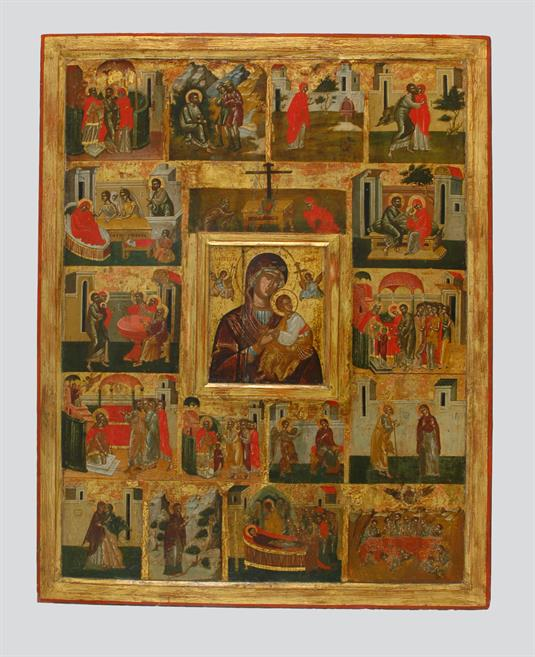 Θεοτόκος του Πάθους και σκηνές από τον βίο της